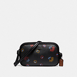 CROSSBODY POUCH WITH PRIMROSE PRINT - f23643 - ANTIQUE NICKEL/BLACK MULTI