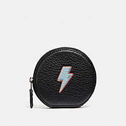 COACH F23654 Round Coin Case With Lightning Bolt Motif ANTIQUE NICKEL/BLACK