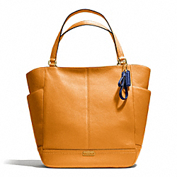 COACH F23662 - PARK LEATHER NORTH/SOUTH TOTE BRASS/ORANGE SPICE
