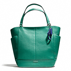 COACH F23662 - PARK LEATHER NORTH/SOUTH TOTE SILVER/BRIGHT JADE