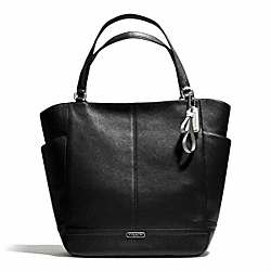 COACH F23662 - PARK LEATHER NORTH/SOUTH TOTE SILVER/BLACK