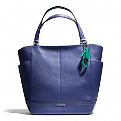 COACH F23662 Park Leather North/south Tote SILVER/FRENCH BLUE