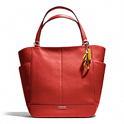 COACH F23662 - PARK LEATHER NORTH/SOUTH TOTE SILVER/VERMILLION