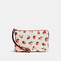 COACH F23674 Corner Zip Wristlet With Fruit Print SILVER/CHALK MULTI