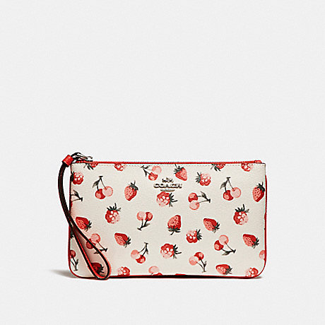 COACH f23675 LARGE WRISTLET WITH FRUIT PRINT SILVER/CHALK MULTI