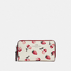 COACH F23677 Small Double Zip Coin Case With Fruit Print SILVER/CHALK MULTI