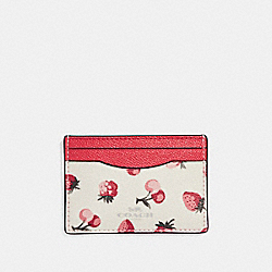 COACH F23678 Flat Card Case With Fruit Print SILVER/CHALK MULTI
