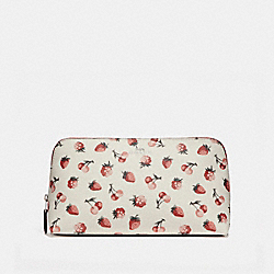 COACH F23680 Cosmetic Case With Fruit Print SILVER/CHALK MULTI