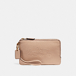 COACH F23693 Double Corner Zip Wristlet With Embossed Horse And Carriage IMITATION GOLD/NUDE PINK