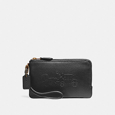 COACH f23693 DOUBLE CORNER ZIP WRISTLET WITH EMBOSSED HORSE AND CARRIAGE IMITATION GOLD/BLACK