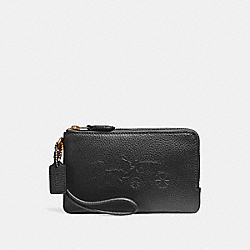 DOUBLE CORNER ZIP WRISTLET WITH EMBOSSED HORSE AND CARRIAGE - f23693 - IMITATION GOLD/BLACK