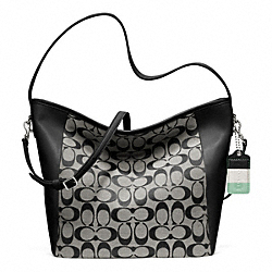 COACH F23702 Weekend Shoulder Bag In Signature  SILVER/BLACK/WHITE/BLACK