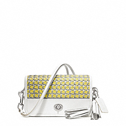CANING LEATHER PENNY SHOULDER PURSE - f23705 - SILVER/LEMON/ASH