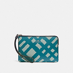 COACH F23715 Corner Zip Wristlet With Wild Plaid Print SILVER/BLUE MULTI