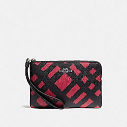 COACH F23715 Corner Zip Wristlet With Wild Plaid Print SVMRT