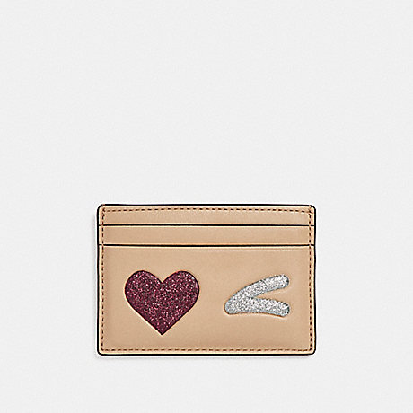 COACH F23760 FLAT CARD CASE WITH GLITTER HEART WINK LIGHT-GOLD/MULTICOLOR-1
