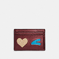 COACH F23760 Flat Card Case With Glitter Heart Wink LIGHT GOLD/MULTICOLOR 1