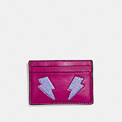 COACH F23776 Flat Card Case With Glitter Lightning Bolt SILVER/MULTICOLOR 1