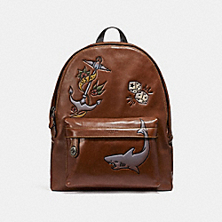COACH F23812 Campus Backpack With Tattoo Tooling SADDLE/BLACK ANTIQUE NICKEL