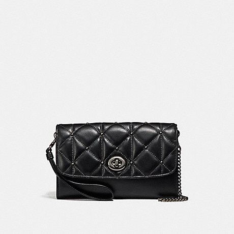 COACH f23816 CHAIN CROSSBODY WITH QUILTING ANTIQUE NICKEL/BLACK