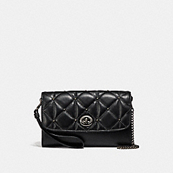 CHAIN CROSSBODY WITH QUILTING - f23816 - ANTIQUE NICKEL/BLACK