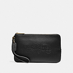 DOUBLE ZIP WALLET WITH EMBOSSED HORSE AND CARRIAGE - f23818 - IMITATION GOLD/BLACK