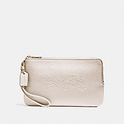 COACH F23818 Double Zip Wallet With Embossed Horse And Carriage IMITATION GOLD/CHALK