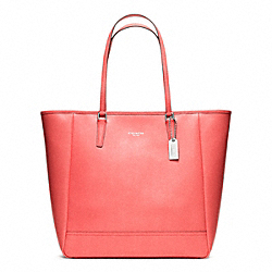 COACH F23821 Saffiano Medium North/south City Tote SILVER/CORAL