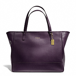 COACH F23822 - SAFFIANO LEATHER LARGE CITY TOTE BRASS/BLACK VIOLET