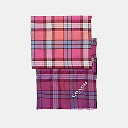 OMBRE STRIPE PLAID OBLONG - f23868 - WATERMELON/PURPLE MULTI