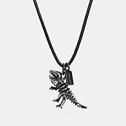 LEATHER CORD CHARM NECKLACE - F23877 - BLACK/HEMATITE