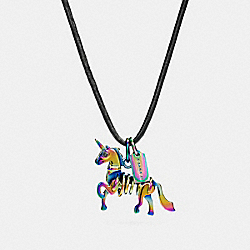 LEATHER CORD CHARM NECKLACE - F23877 - PRIMROSE/OIL SLICK