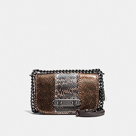 COACH F23894 COACH SWAGGER SHOULDER BAG 20 IN METALLIC STRIPED MIXED SNAKESKIN DK/METALLIC-MULTI
