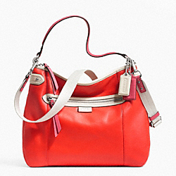 COACH F23903 Daisy Spectator Leather Convertible Hobo SILVER/VERMILLION MULTICOLOR