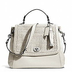 COACH F23912 - PARK WOVEN LEATHER FLAP SILVER/WHITE OAK