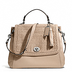 COACH F23912 - PARK WOVEN LEATHER FLAP SILVER/PIPER TAN