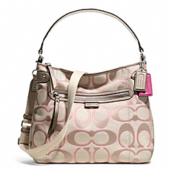 COACH F23918 - DAISY OUTLINE SIGNATURE METALLIC CONVERTIBLE HOBO ONE-COLOR