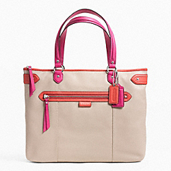 COACH F23922 - DAISY SPECTATOR LEATHER EMMA TOTE SILVER/SAND MULTICOLOR