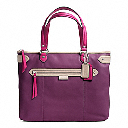 COACH F23922 - DAISY SPECTATOR LEATHER EMMA TOTE SILVER/PURPLE MULTI
