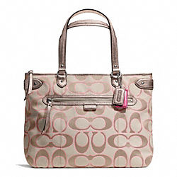 COACH F23938 - DAISY OUTLINE SIGNATURE METALLIC EMMA TOTE SILVER/LIGHT KHAKI/GOLD