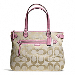 COACH F23938 - DAISY OUTLINE SIGNATURE METALLIC EMMA TOTE SILVER/LIGHT KHAKI/PINK