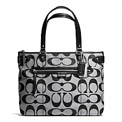 COACH F23938 - DAISY OUTLINE SIGNATURE METALLIC EMMA TOTE SILVER/MOONLIGHT