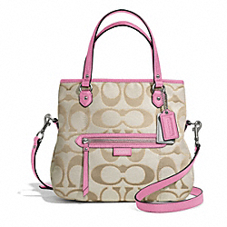 COACH F23940 - DAISY OUTLINE SIGNATURE METALLIC MIA SILVER/LIGHT KHAKI/PINK