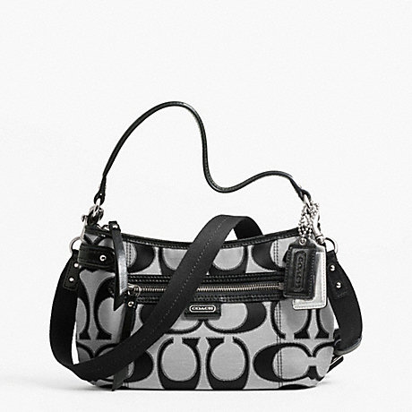 DAISY OUTLINE SIGNATURE METALLIC CROSSBODY - COACH F23946 - SILVER/MOONLIGHT