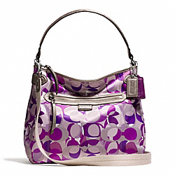 COACH F23957 Daisy Kaleidoscope Print Convertible Hobo SILVER/PURPLE MULTI