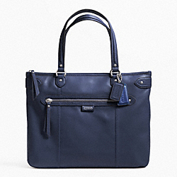 COACH F23973 - DAISY LEATHER EMMA TOTE SILVER/MIDNIGHT NAVY