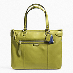 COACH F23973 Daisy Leather Emma Tote SILVER/GRASS GREEN