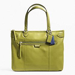 COACH F23973 Daisy Leather Emma Tote SILVER/GRASS GREEN