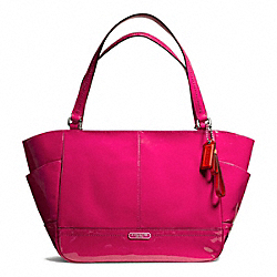 COACH F23979 - PARK PATENT CARRIE TOTE SILVER/RASPBERRY