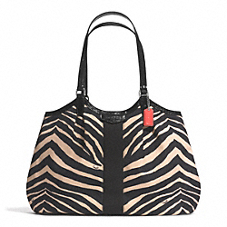 COACH F24022 - SIGNATURE STRIPE ZEBRA PRINT DEVIN SHOULDER BAG SILVER/BLACK/BLACK
